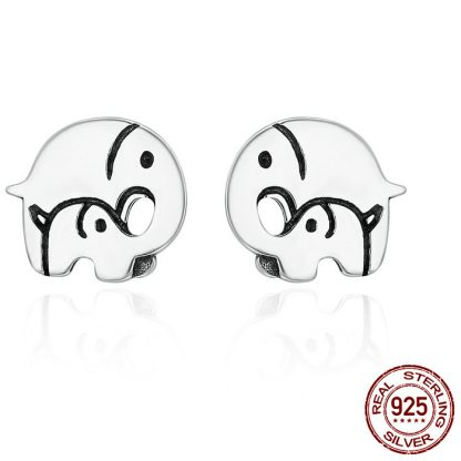 Elegant Mother and Baby Elephant Earrings