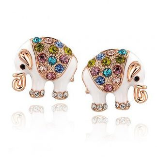 Colourful Bohemian Style Elephant Earrings