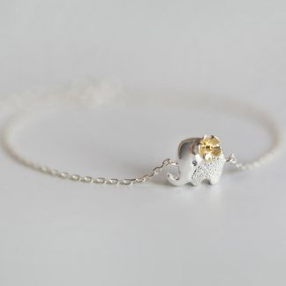 White and Gold Elephant Bracelet